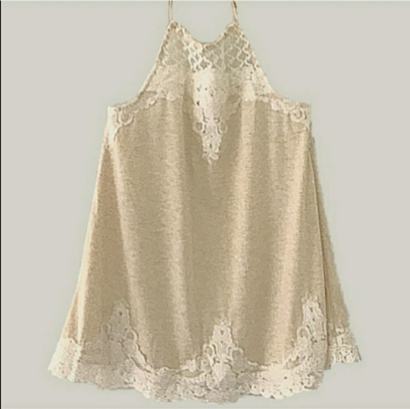 Maurices cream white lace halter top